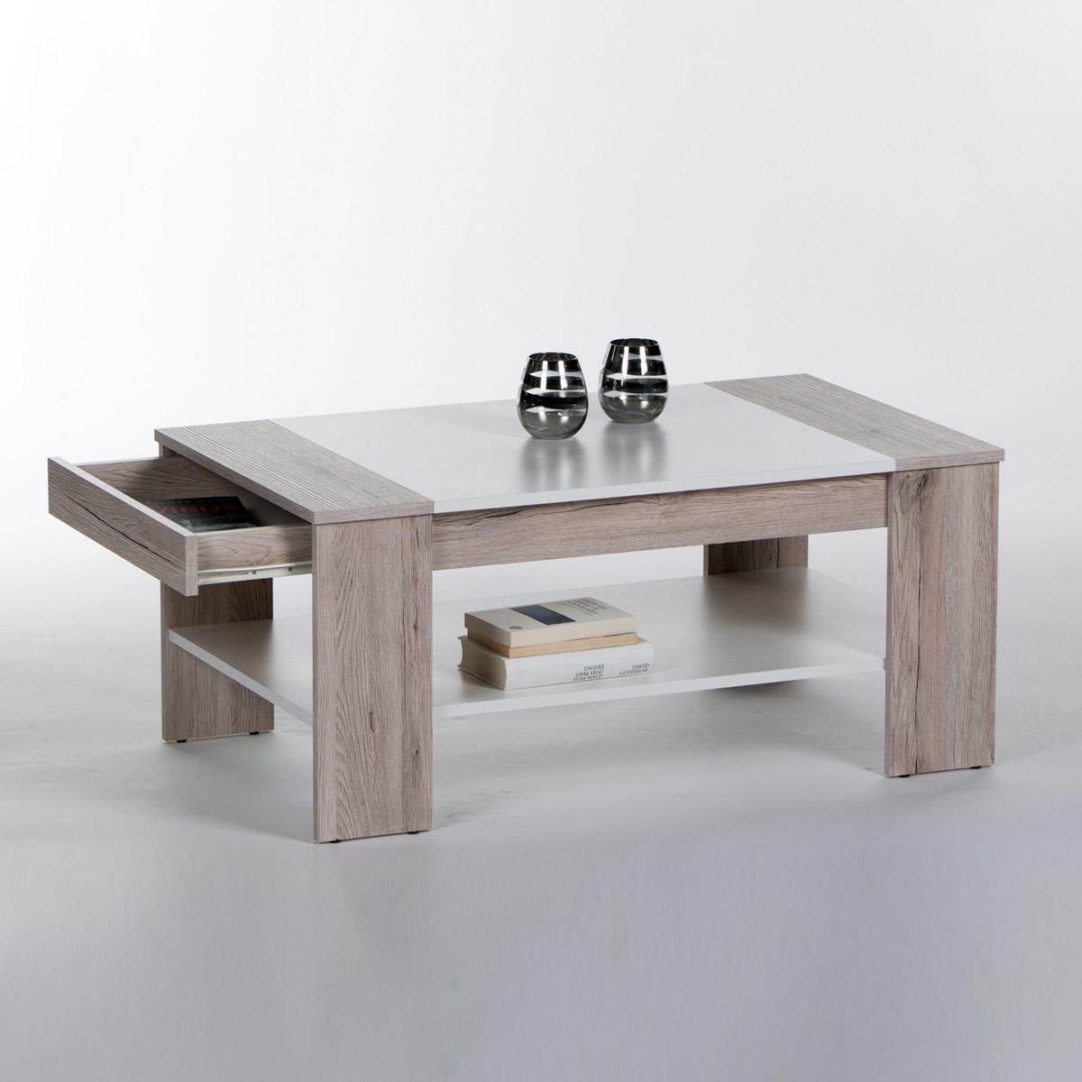 Couchtisch finley plus sonoma betonoptik und wei mit 1 for Couchtisch 100 x 50