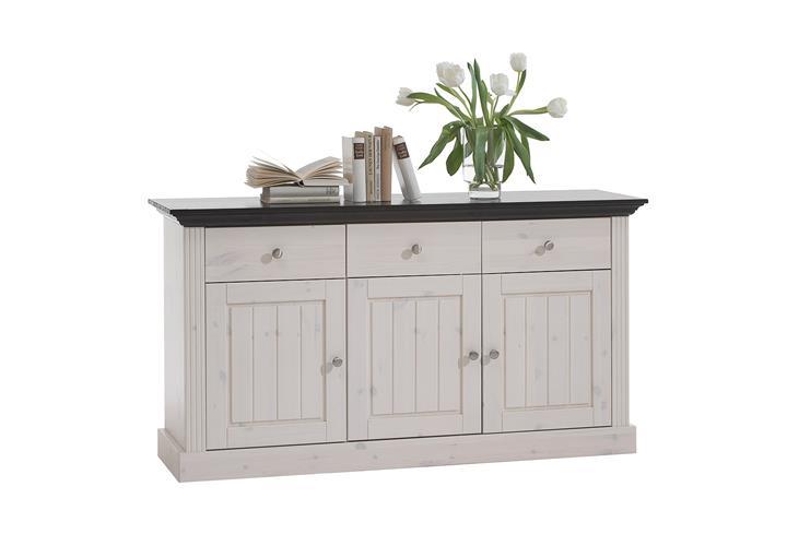 sideboard monaco kommode kiefer massiv wei white wash und kolonial ebay. Black Bedroom Furniture Sets. Home Design Ideas