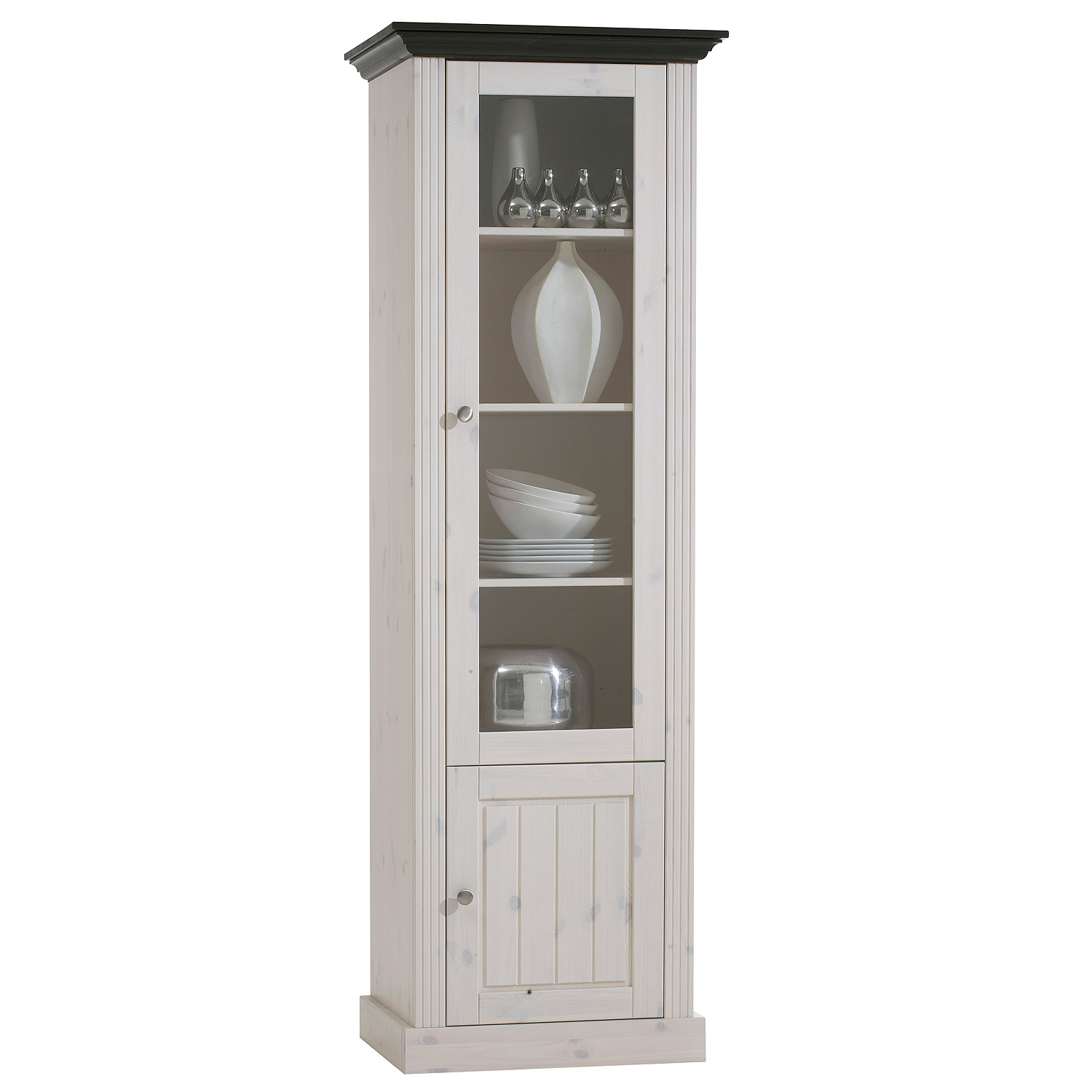 vitrine monaco schrank kiefer massiv wei white wash und kolonial. Black Bedroom Furniture Sets. Home Design Ideas