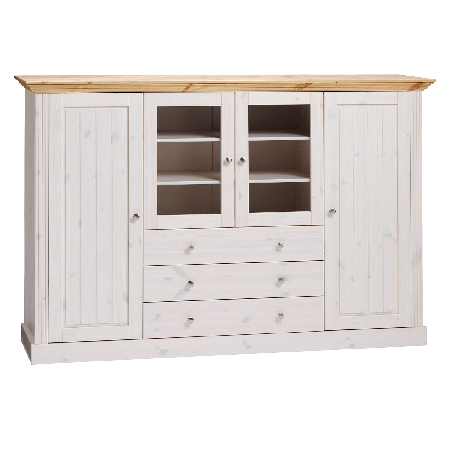 highboard monaco vitrine kiefer massiv wei white wash und gelaugt ebay. Black Bedroom Furniture Sets. Home Design Ideas