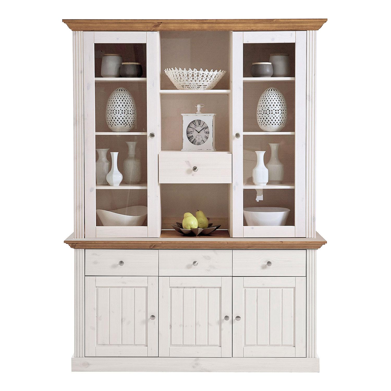 buffet monaco vitrinenschrank sideboard kiefer massiv wei. Black Bedroom Furniture Sets. Home Design Ideas