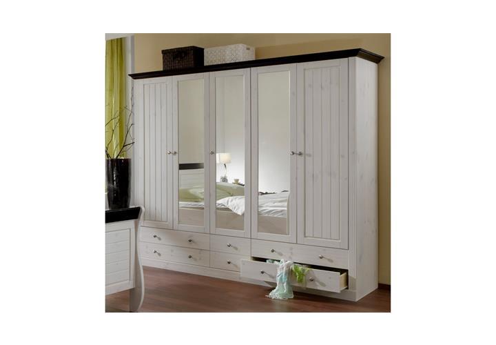 kleiderschrank monaco schrank kiefer massiv white wash und. Black Bedroom Furniture Sets. Home Design Ideas