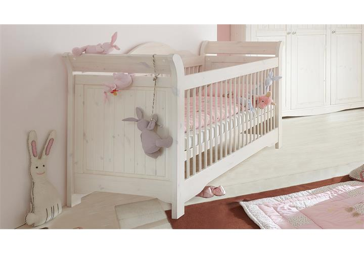 babybett lotta babyzimmer bett kiefer massiv wei white wash 70x140 cm. Black Bedroom Furniture Sets. Home Design Ideas