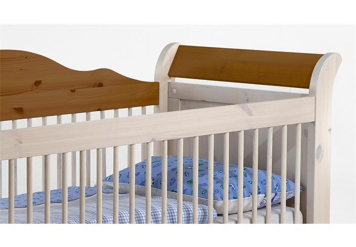 babybett lotta babyzimmer bett kiefer massiv wei white wash und provence ebay. Black Bedroom Furniture Sets. Home Design Ideas