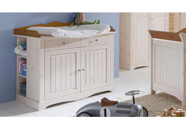 wickelkommode lotta babyzimmer kiefer massiv wei white wash provence ebay. Black Bedroom Furniture Sets. Home Design Ideas