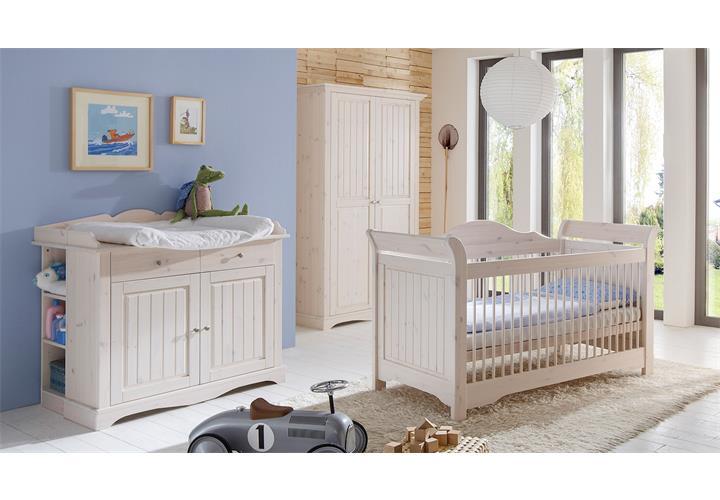 Babyzimmer lotta babybett schrank wickelkommode kiefer massiv weiß ...