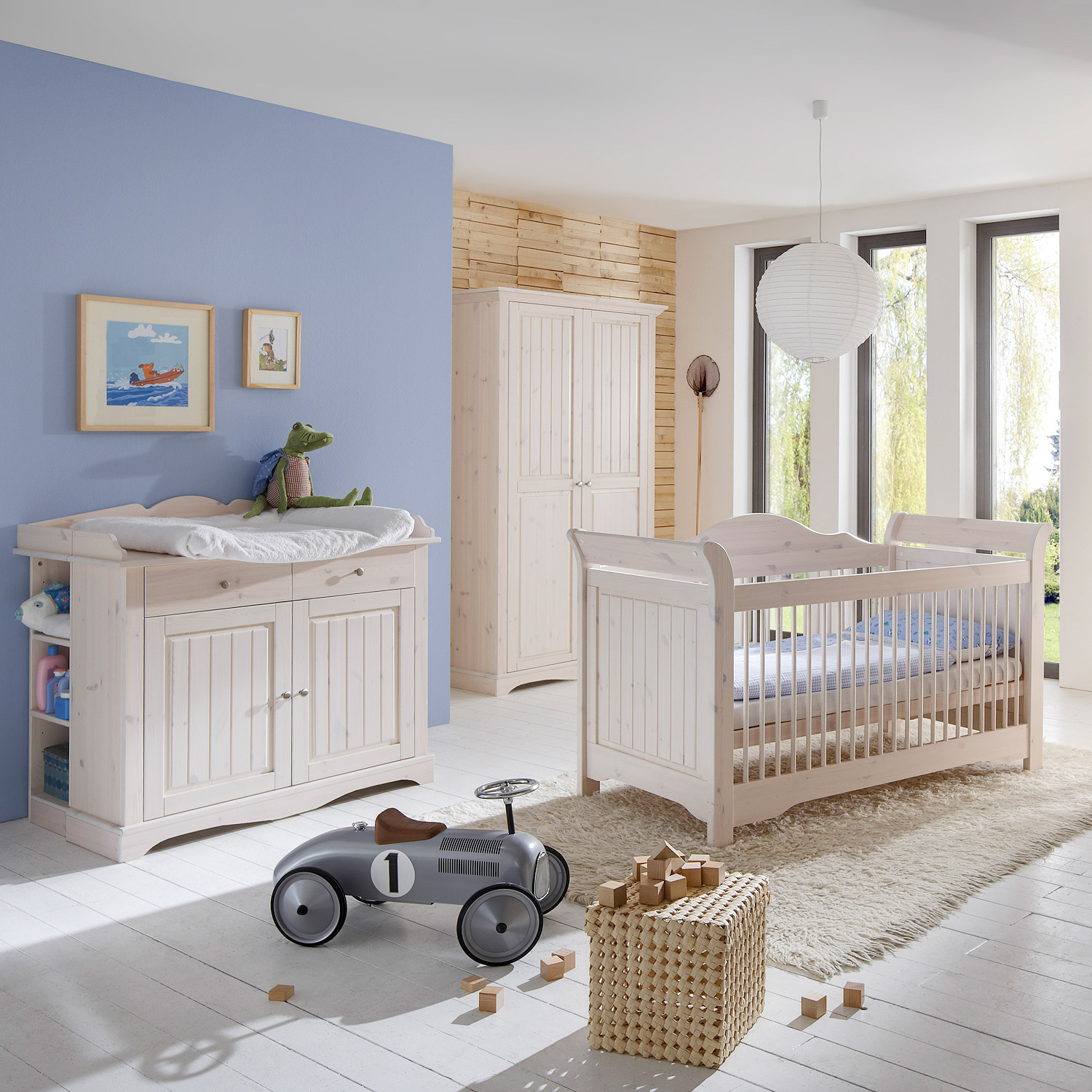 babyzimmer lotta babybett schrank wickelkommode kiefer massiv wei white wash ebay. Black Bedroom Furniture Sets. Home Design Ideas