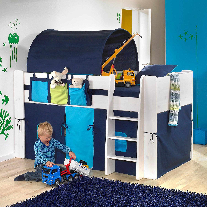 Hochbett Steens for Kids Bett weiß Vorhänge Taschen Tunnelzelt ...