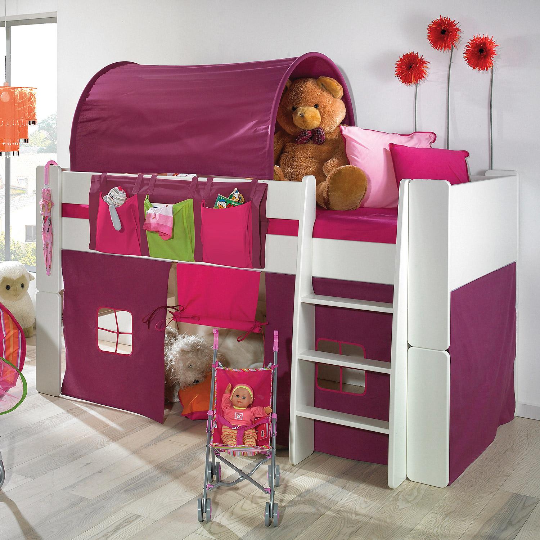 hochbett steens for kids bett wei vorh nge taschen. Black Bedroom Furniture Sets. Home Design Ideas