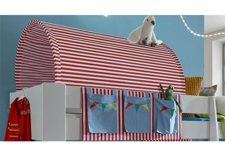 hochbett steens for kids bett mdf wei vorh nge taschen tunnelzelt zirkus 90x200 ebay. Black Bedroom Furniture Sets. Home Design Ideas