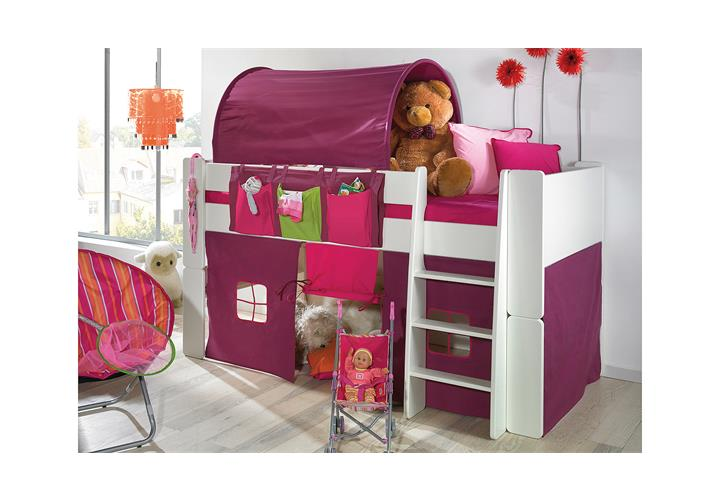 hochbett steens for kids bett wei vorh nge taschen tunnelzelt rutsche ebay. Black Bedroom Furniture Sets. Home Design Ideas