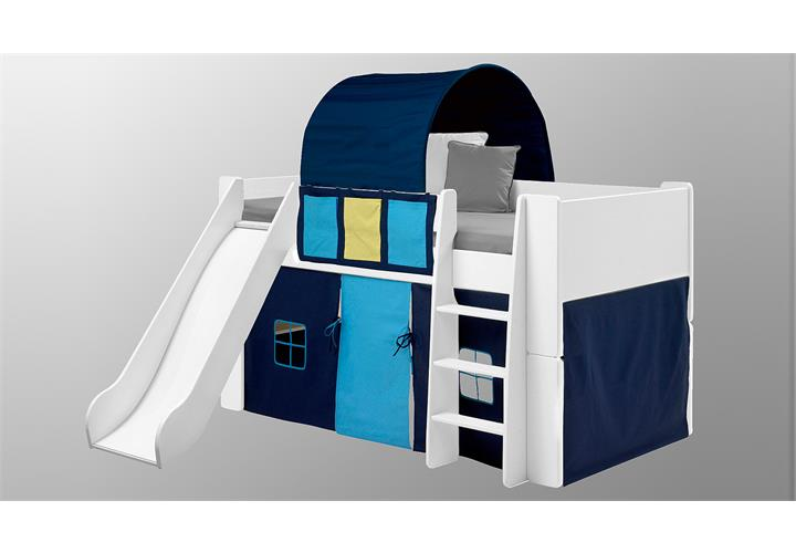 hochbett steens for kids bett mit rutsche mdf wei vorh nge tunnelzelt blau ebay. Black Bedroom Furniture Sets. Home Design Ideas