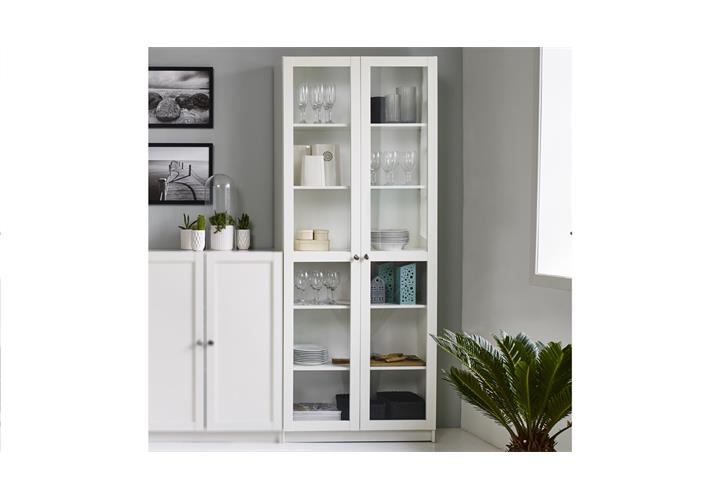 regal anette mit glast ren vitrine glasvitrine in wei schrank wohnzimmer ebay. Black Bedroom Furniture Sets. Home Design Ideas