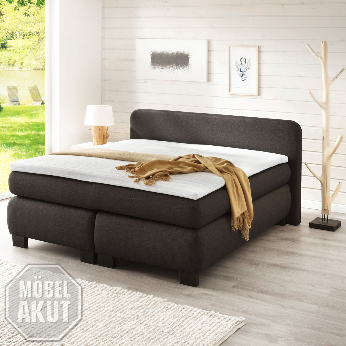 boxspringbett bx 300 bett schlafzimmerbett bonell federkern anthrazit 180x200 ebay. Black Bedroom Furniture Sets. Home Design Ideas
