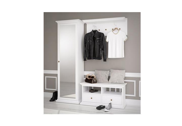 garderobenschrank paris landhaus dielenschrank wei 1 t r mit spiegel ebay. Black Bedroom Furniture Sets. Home Design Ideas