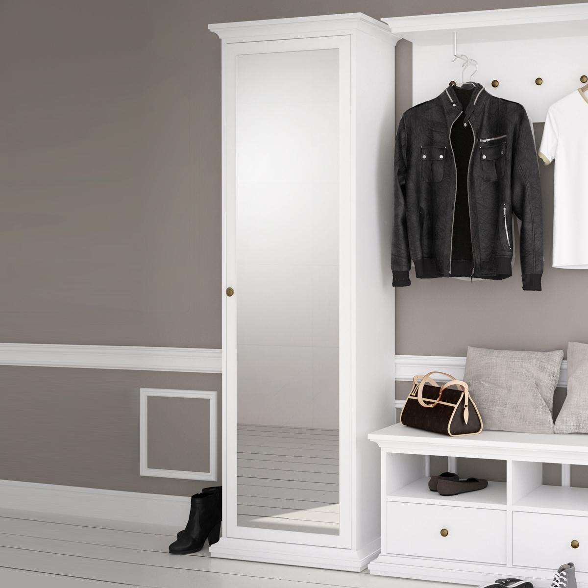 garderobenschrank paris landhaus dielenschrank wei 1 t r. Black Bedroom Furniture Sets. Home Design Ideas