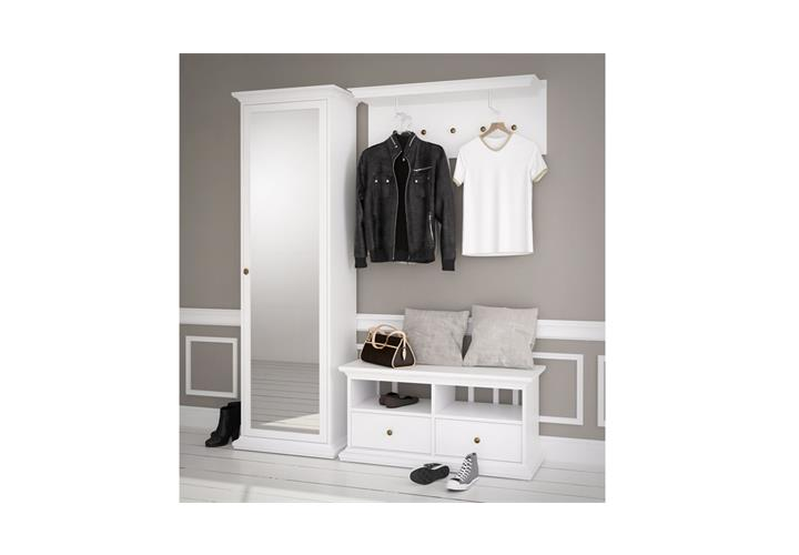 garderobe paris landhaus wei dielenschrank mit spiegel bank garderobenpaneel eur 329 95. Black Bedroom Furniture Sets. Home Design Ideas