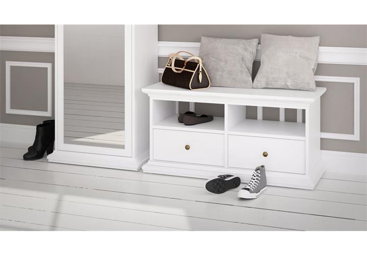 garderobe paris landhaus wei dielenschrank mit spiegel. Black Bedroom Furniture Sets. Home Design Ideas