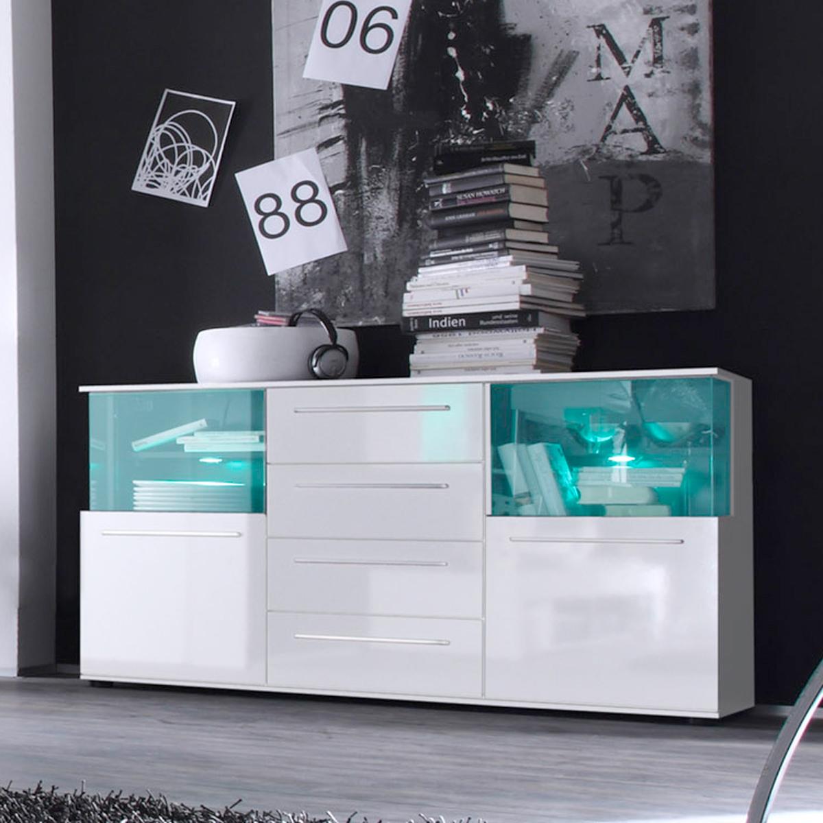 sideboard punch wohnzimmer kommode anrichte in wei glanz. Black Bedroom Furniture Sets. Home Design Ideas