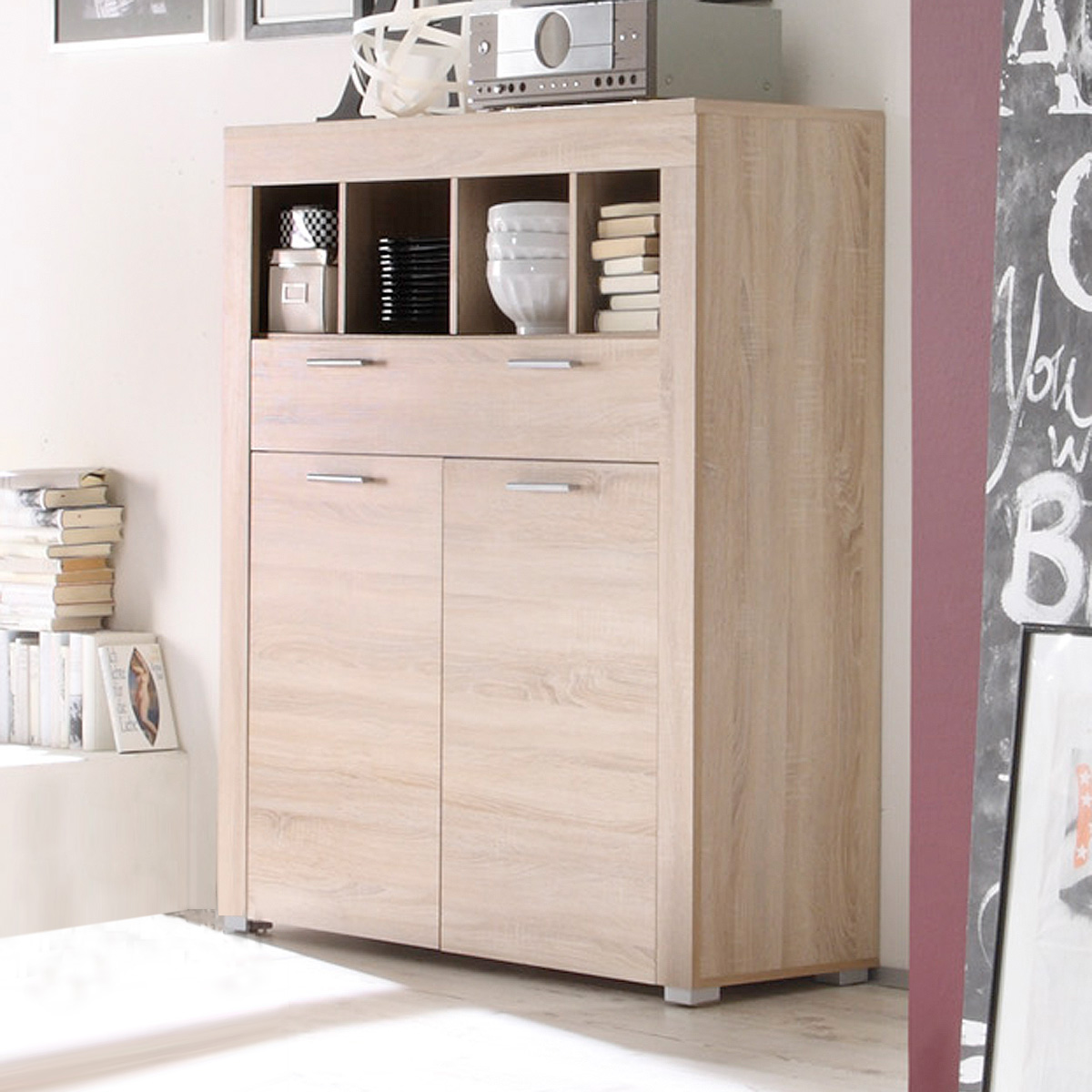 kommode boom schrank sideboard sonoma eiche s gerau hell ebay. Black Bedroom Furniture Sets. Home Design Ideas