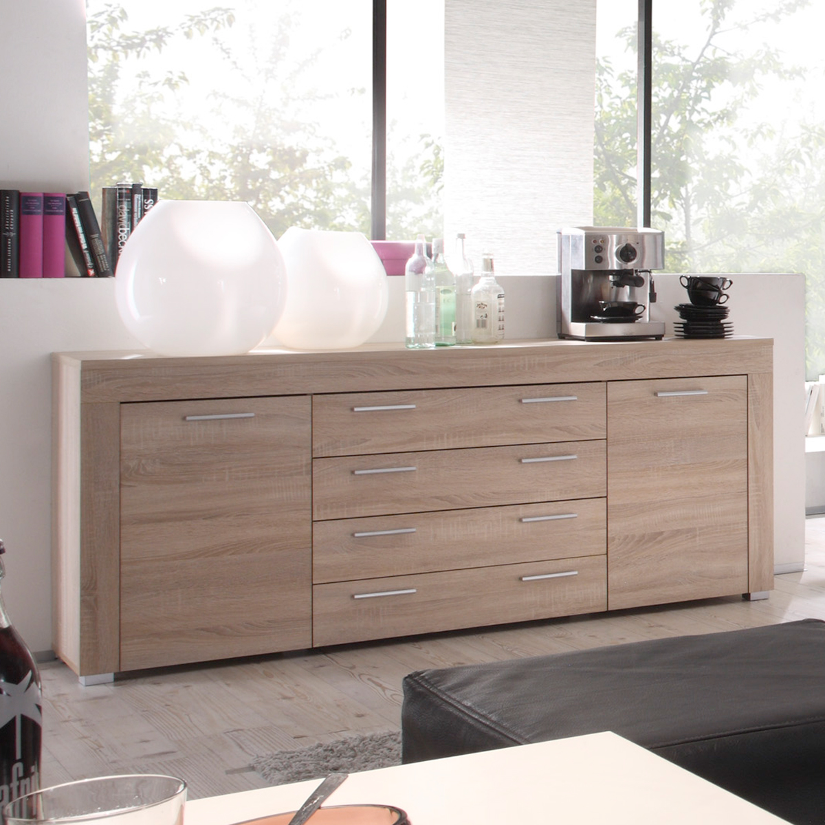 sideboard boom kommode wohnzimmer schrank in sonoma eiche. Black Bedroom Furniture Sets. Home Design Ideas