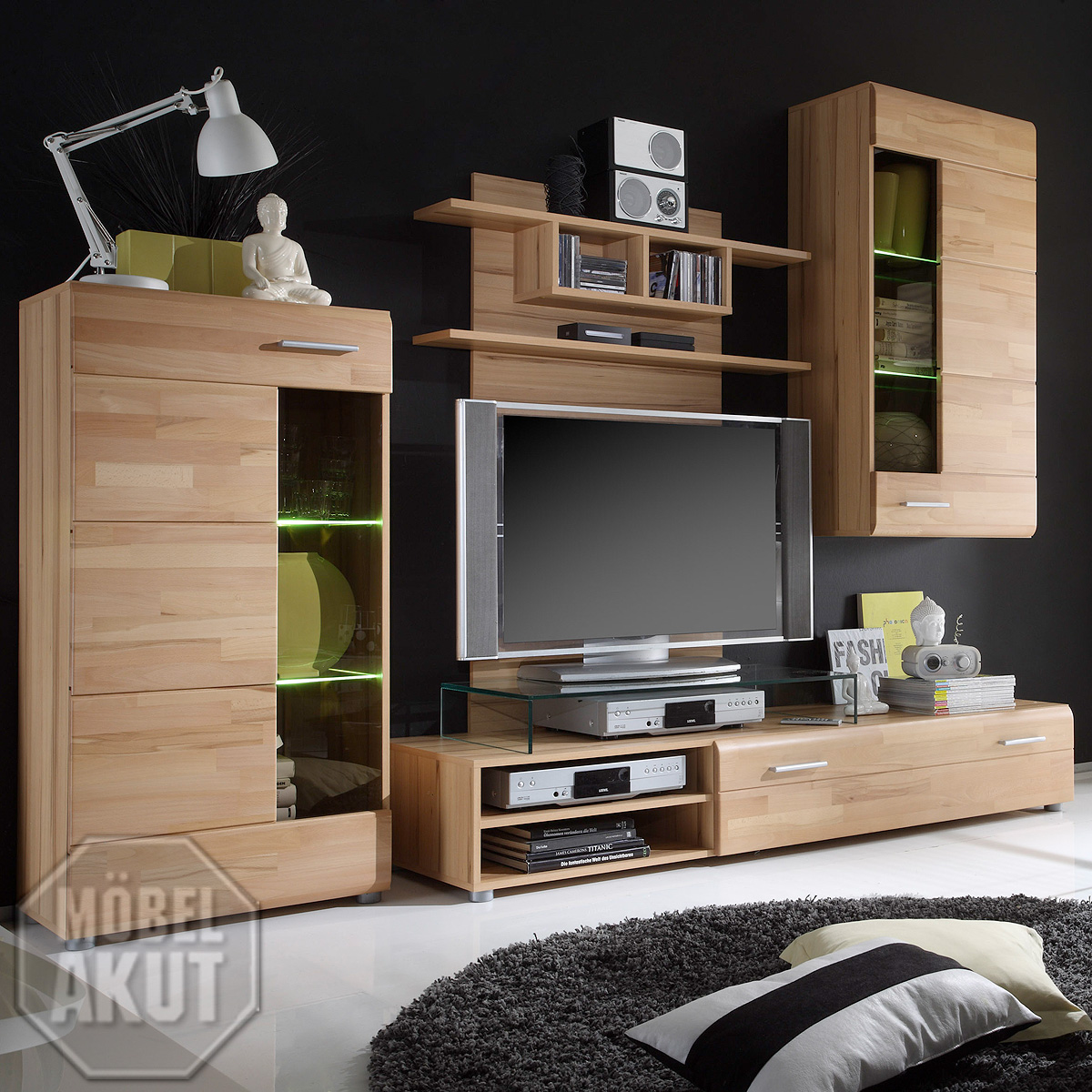 wohnwand nonda anbauwand wohnzimmer kernbuche teil. Black Bedroom Furniture Sets. Home Design Ideas