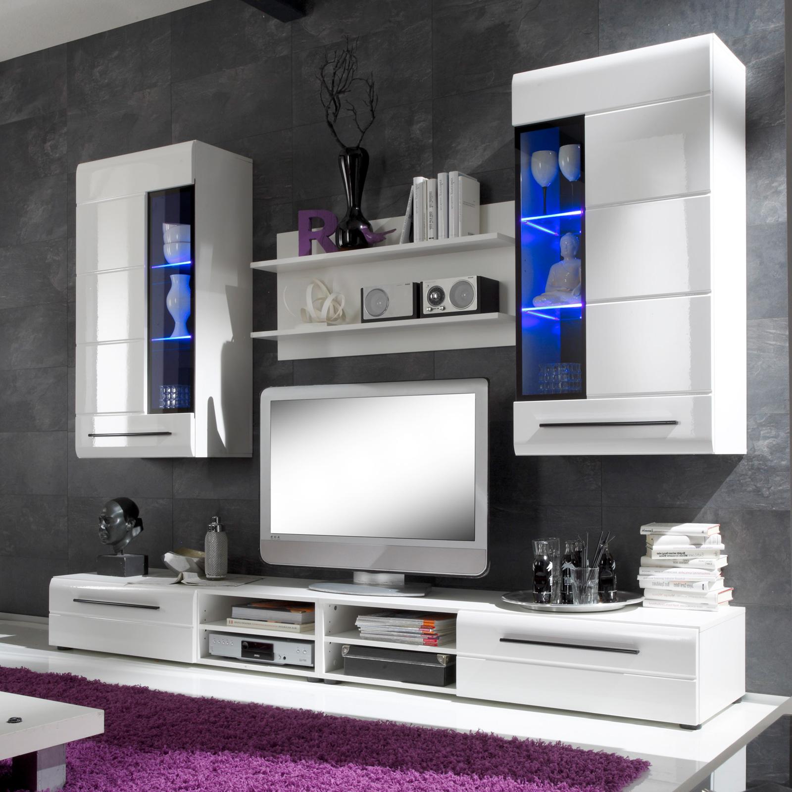 Wohnwand Trier Mit Beleuchtung : Details zu Wohnwand Skin 2 Wohnzimmer Anbauwand in weiß hochglanz mit ...