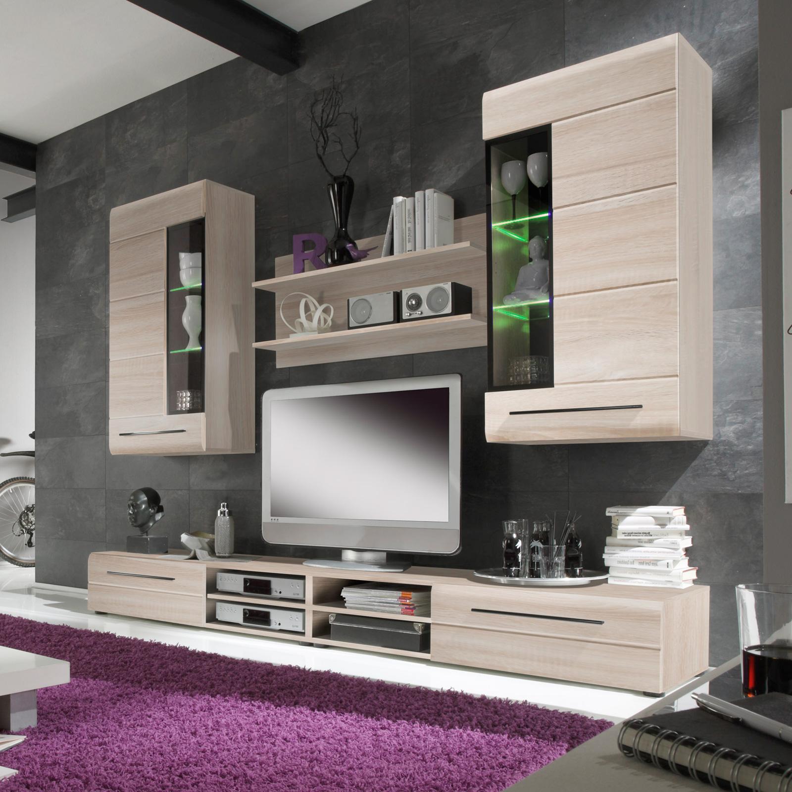 wohnwand skin 2 wohnzimmer anbauwand in eiche s gerau hell mit led beleuchtung ebay. Black Bedroom Furniture Sets. Home Design Ideas