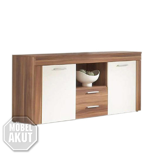 sideboard formo highboard kommode in nussbaum und wei glanz neu ebay. Black Bedroom Furniture Sets. Home Design Ideas