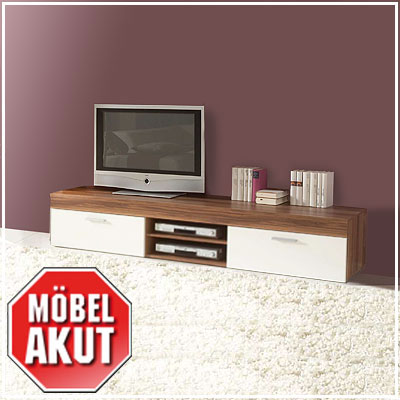 aspen wohnwand wei nussbaum tv lowboard mit. Black Bedroom Furniture Sets. Home Design Ideas