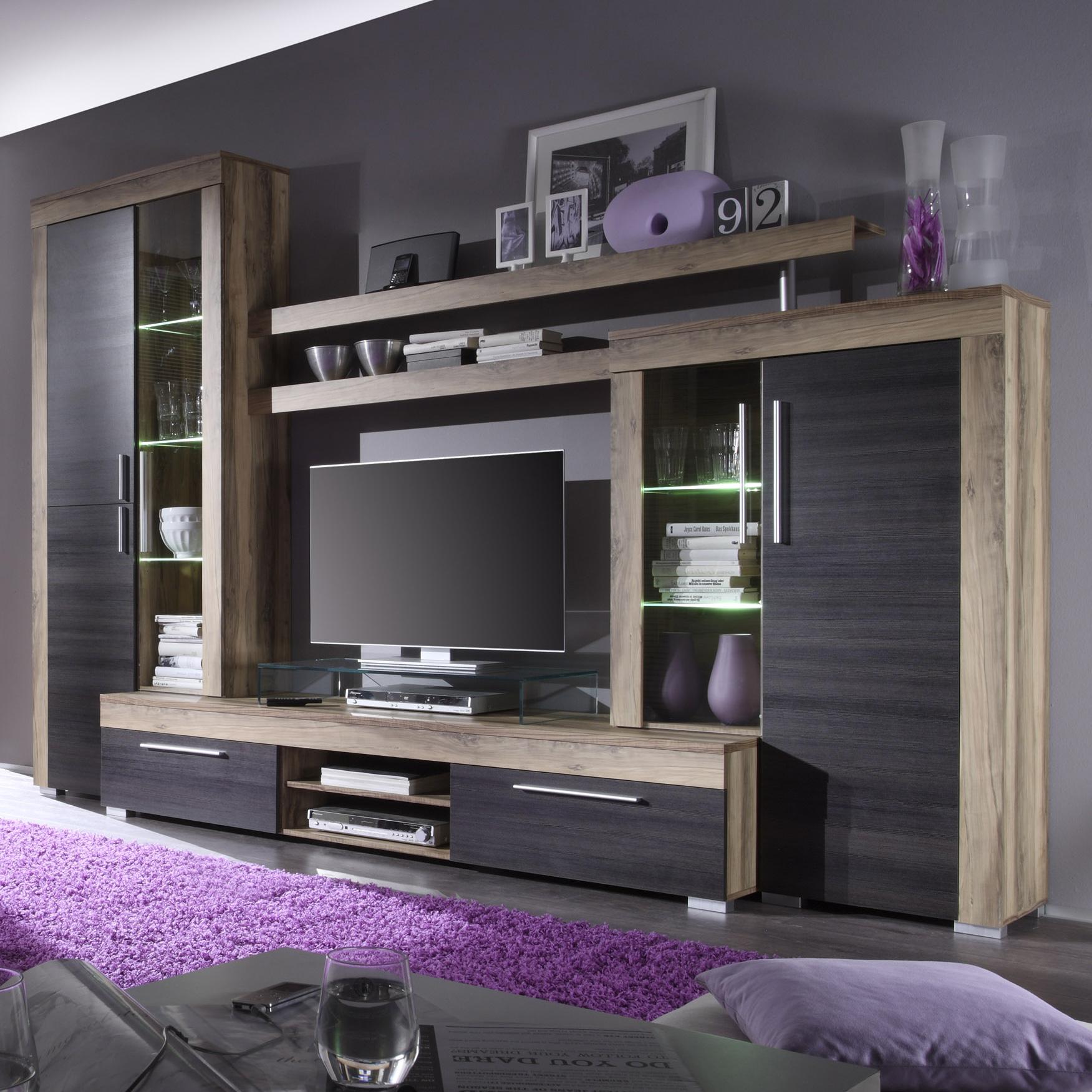wohnwand boom anbauwand in nussbaum satin braun touchwood inkl beleuchtung ebay. Black Bedroom Furniture Sets. Home Design Ideas