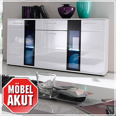 sideboard raida kommode in wei hochglanz schwarz inkl beleuchtung ebay. Black Bedroom Furniture Sets. Home Design Ideas