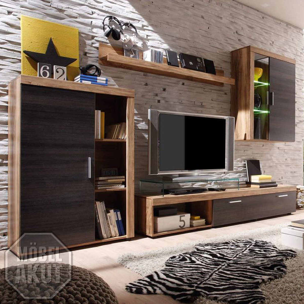 wohnwand cevius anbauwand nussbaum satin dunkel braun. Black Bedroom Furniture Sets. Home Design Ideas