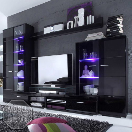 wohnwand silent anbauwand in schwarz hochglanz inkl led farbwechsellicht ebay. Black Bedroom Furniture Sets. Home Design Ideas