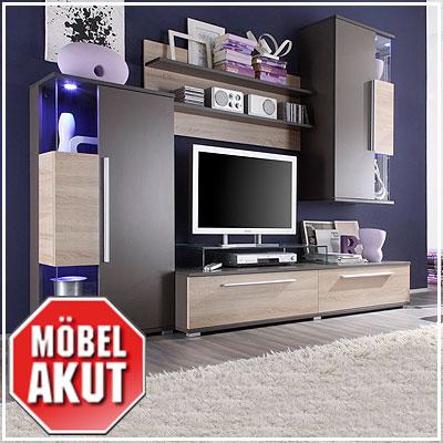 wohnwand berry anbauwand in schlamm braun sonoma eiche. Black Bedroom Furniture Sets. Home Design Ideas