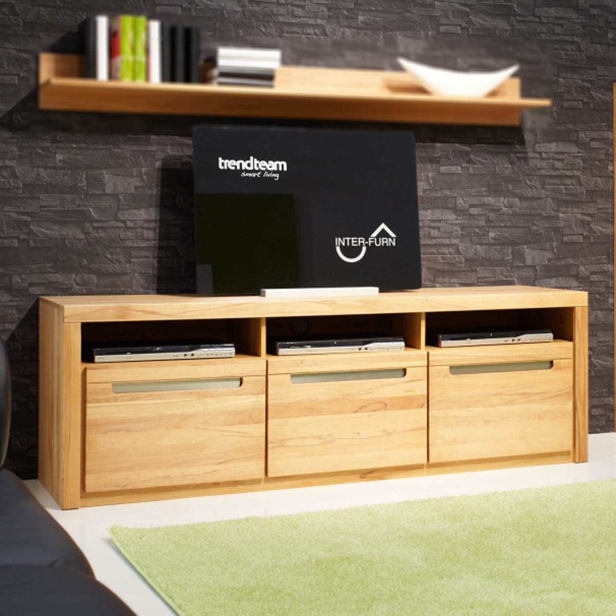 tv board zino lowboard tv regal kern buche massiv mit lamellen ebay. Black Bedroom Furniture Sets. Home Design Ideas