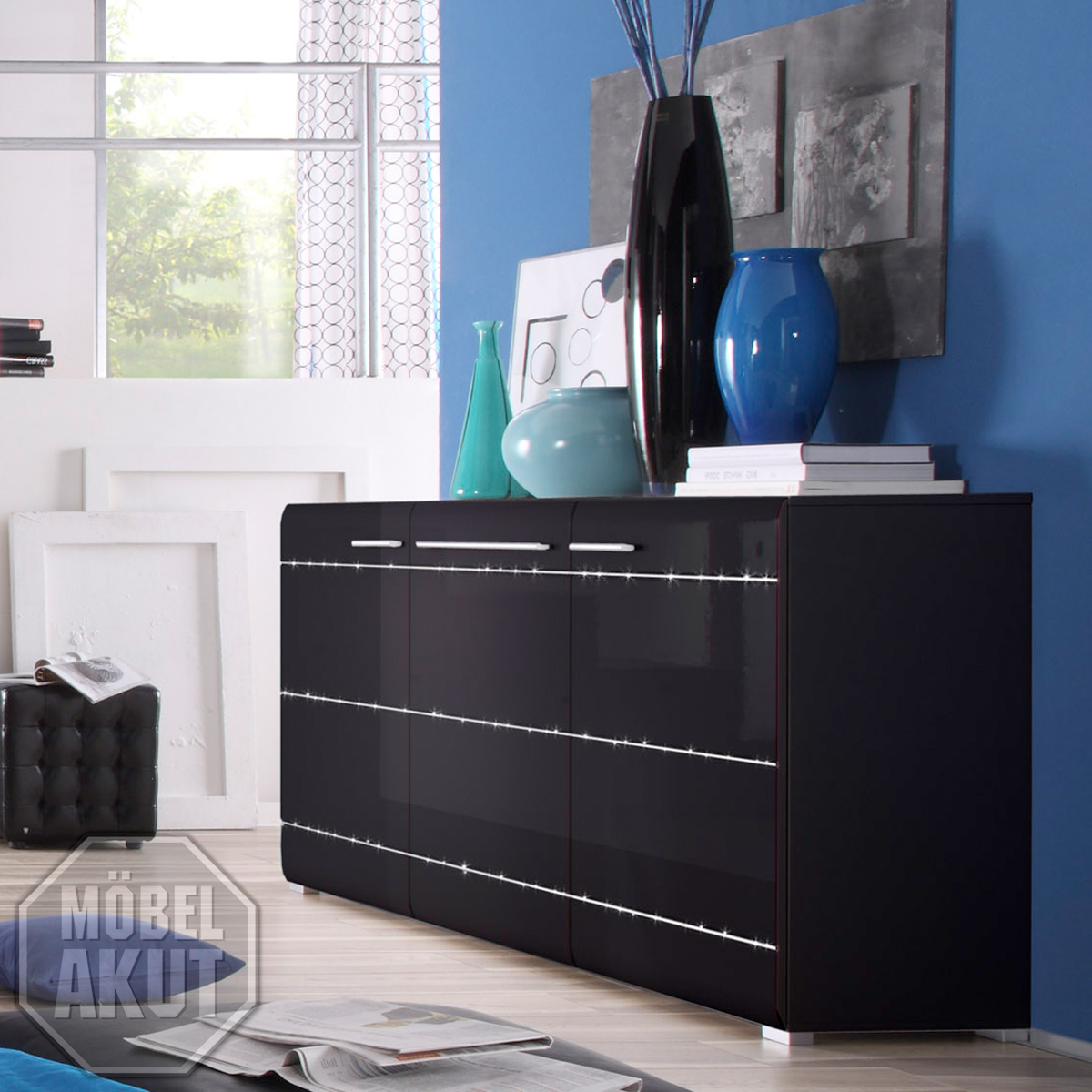 sideboard ramor kommode in schwarz hochglanz tiefzieh inkl strass ebay. Black Bedroom Furniture Sets. Home Design Ideas