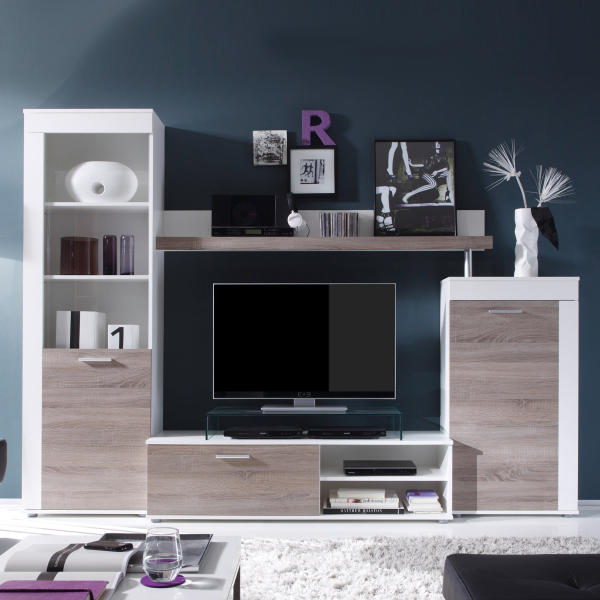 wohnwand road anbauwand in wei und sonoma eiche s gerau dunkel ebay. Black Bedroom Furniture Sets. Home Design Ideas