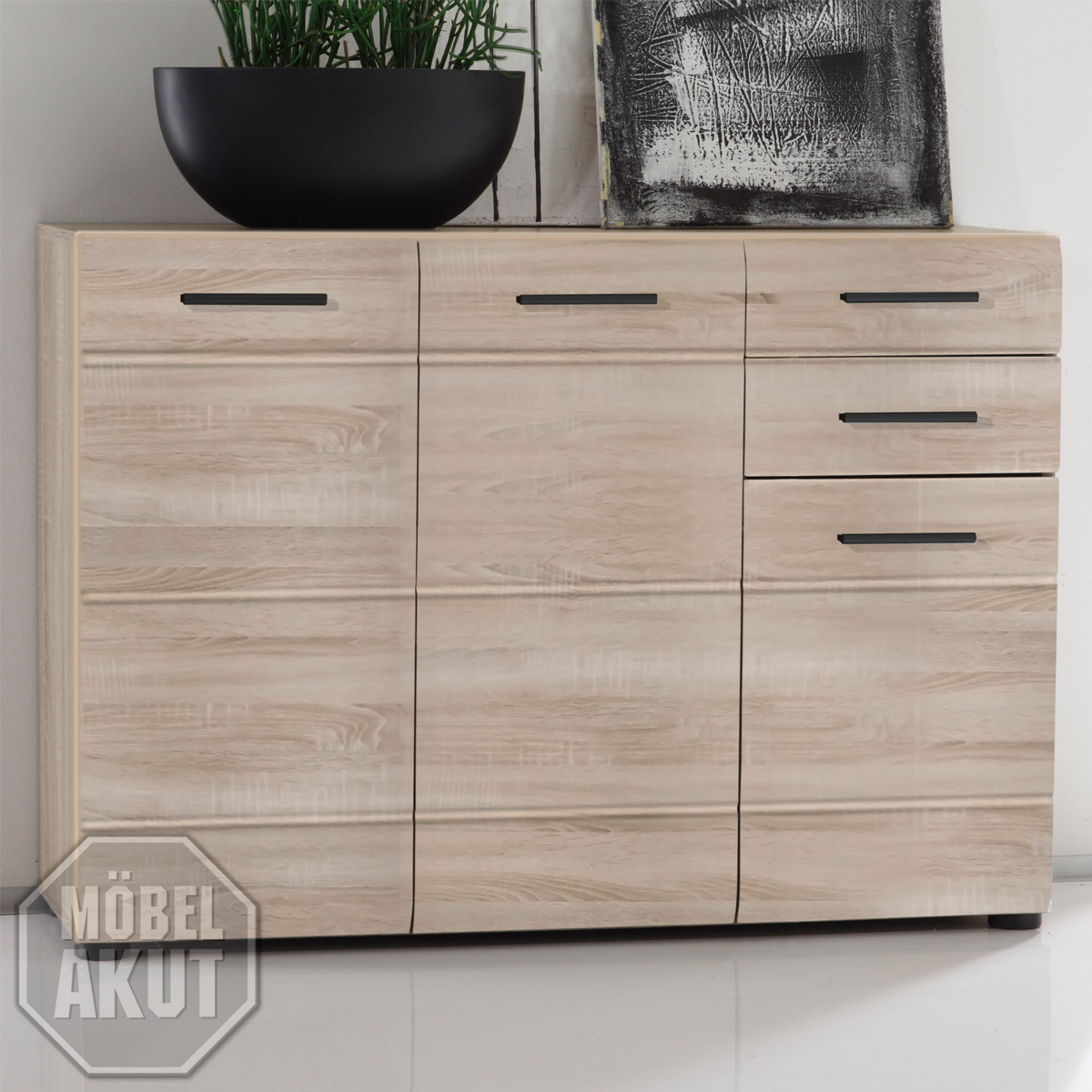 kommode iii anoma sideboard schrank in sonoma eiche s gerau hell tiefzieh ebay. Black Bedroom Furniture Sets. Home Design Ideas