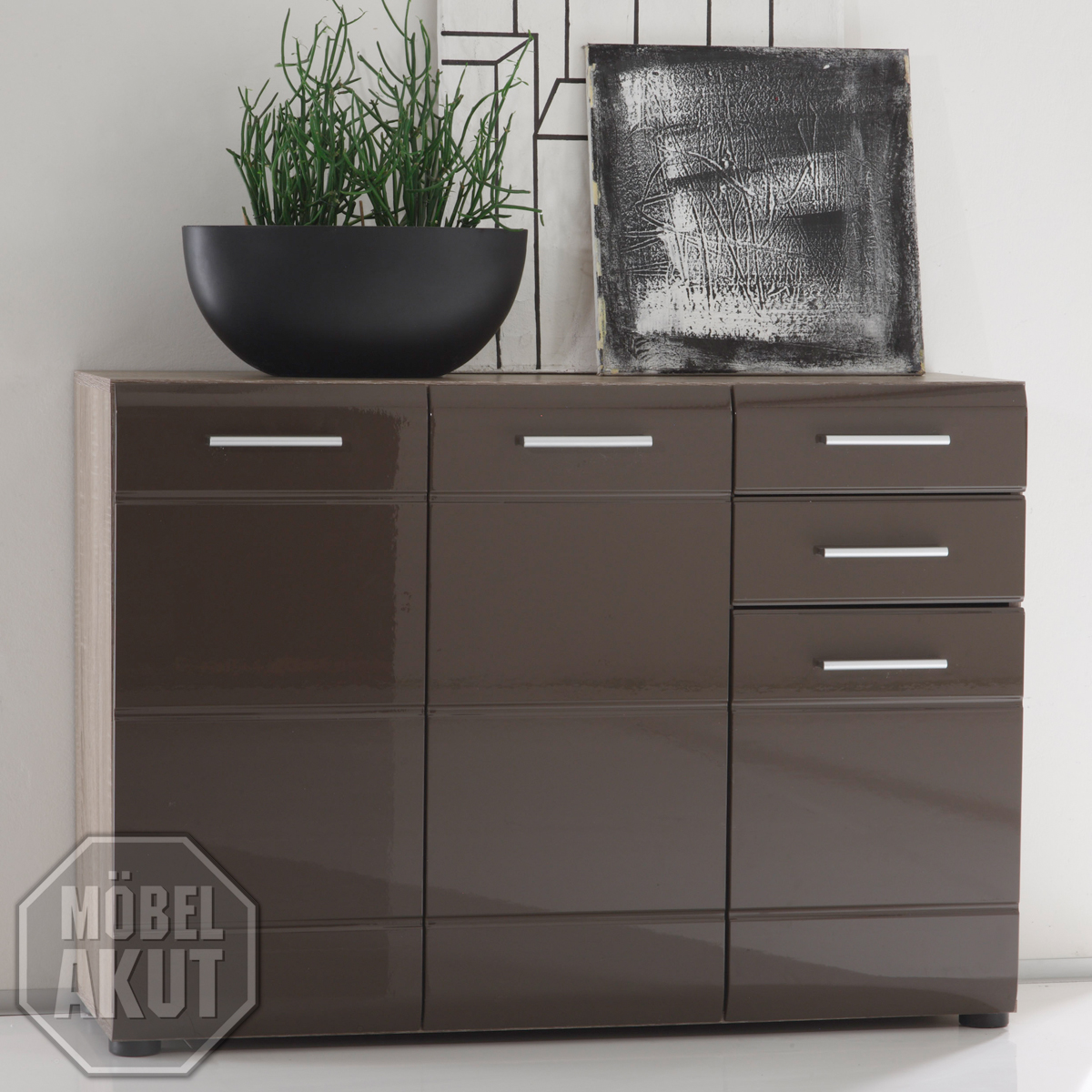 kommode iii anoma sideboard sonoma eiche s gerau dunkel braun hochglanz ebay. Black Bedroom Furniture Sets. Home Design Ideas