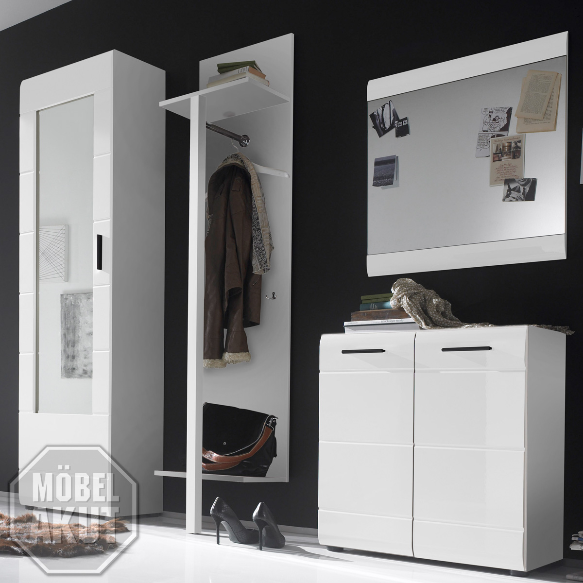 garderoben set anoma garderobe schrank kommode wei wei hochglanz mit spiegel ebay. Black Bedroom Furniture Sets. Home Design Ideas
