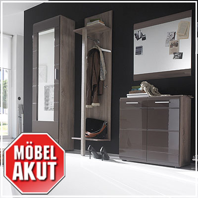garderoben set anoma garderobe schrank sonoma eiche s gerau braun mit spiegel ebay. Black Bedroom Furniture Sets. Home Design Ideas