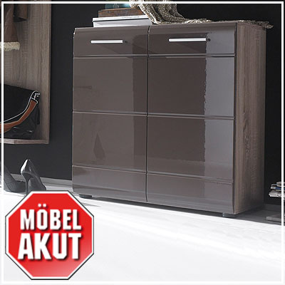 schuhkommode anoma kommode schrank sonoma eiche s gerau dunkel braun hochglanz ebay. Black Bedroom Furniture Sets. Home Design Ideas