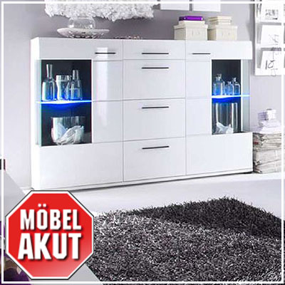highboard wali sideboard wei hochglanz schwarz inkl beleuchtung ebay. Black Bedroom Furniture Sets. Home Design Ideas