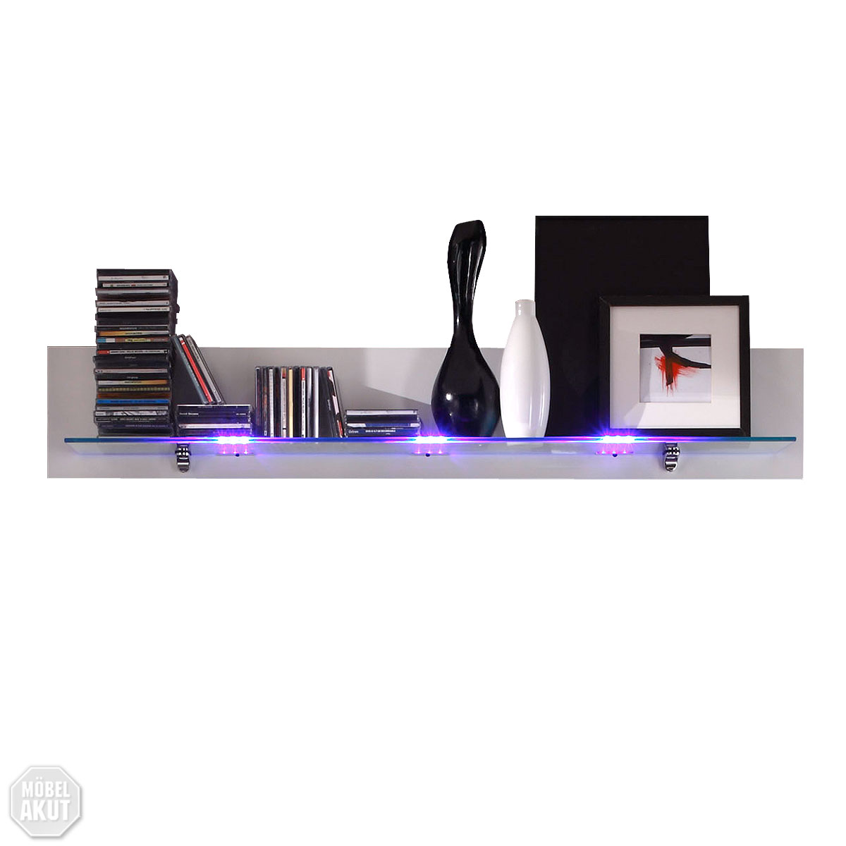 wandboard mikado wandregal regal cd regal in wei lack mit glasablage led ebay. Black Bedroom Furniture Sets. Home Design Ideas