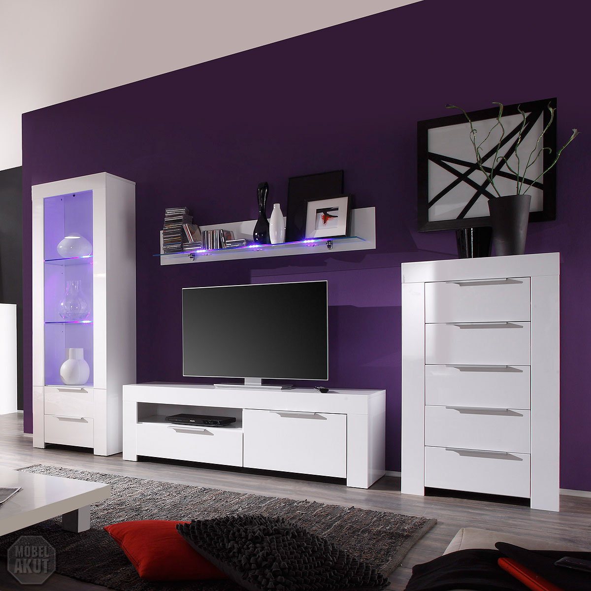 wohnwand mikado anbauwand wohnzimmer vitrine kommode tv board wei lack led ebay. Black Bedroom Furniture Sets. Home Design Ideas