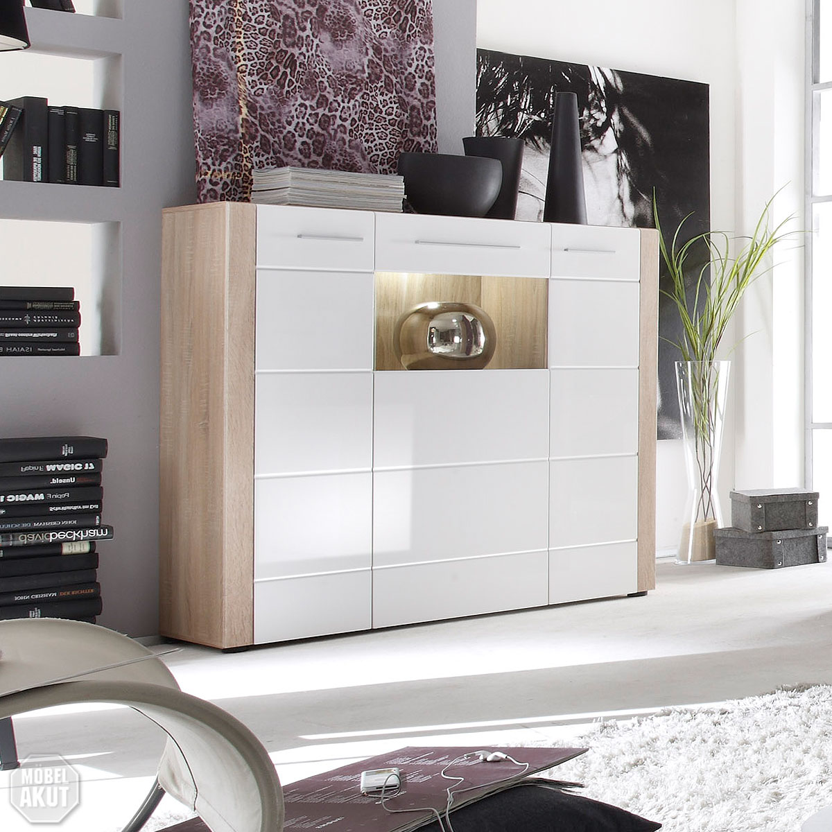 highboard tila sideboard kommode sonoma eiche s gerau hell wei hochglanz led ebay. Black Bedroom Furniture Sets. Home Design Ideas