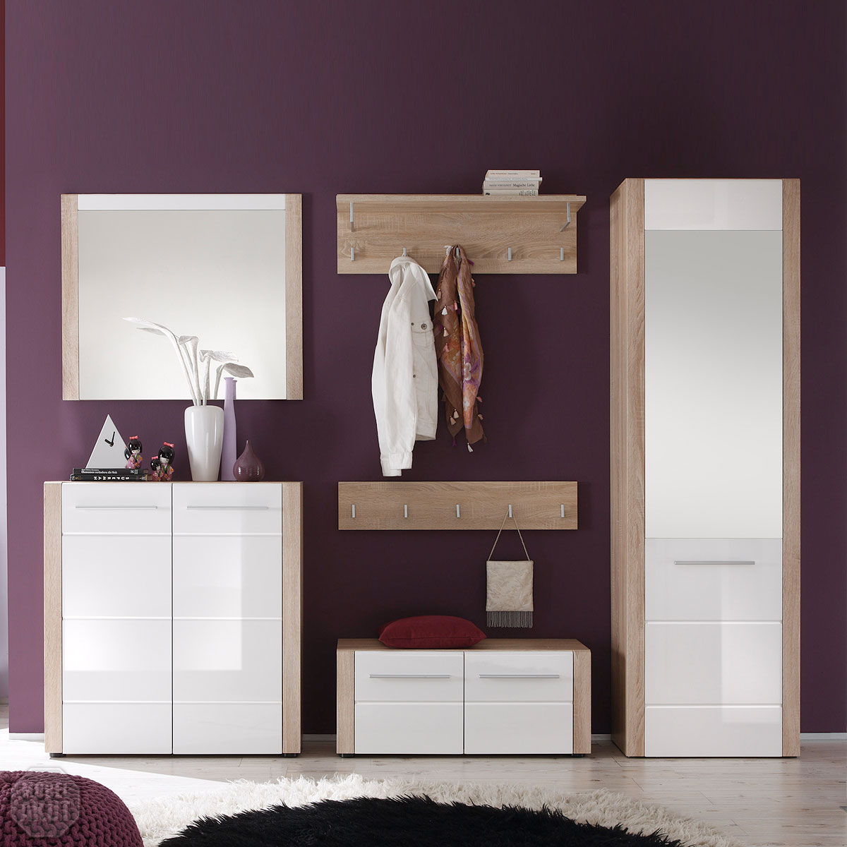 garderobenset i tila garderobe schuhschrank sonoma eiche s gerau wei hochglanz ebay. Black Bedroom Furniture Sets. Home Design Ideas