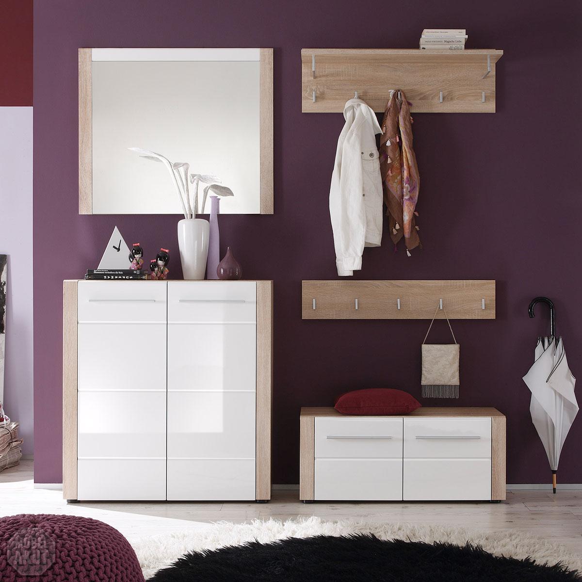 garderobenset ii tila garderobe schuhschrank sonoma eiche s gerau wei hochglanz ebay. Black Bedroom Furniture Sets. Home Design Ideas