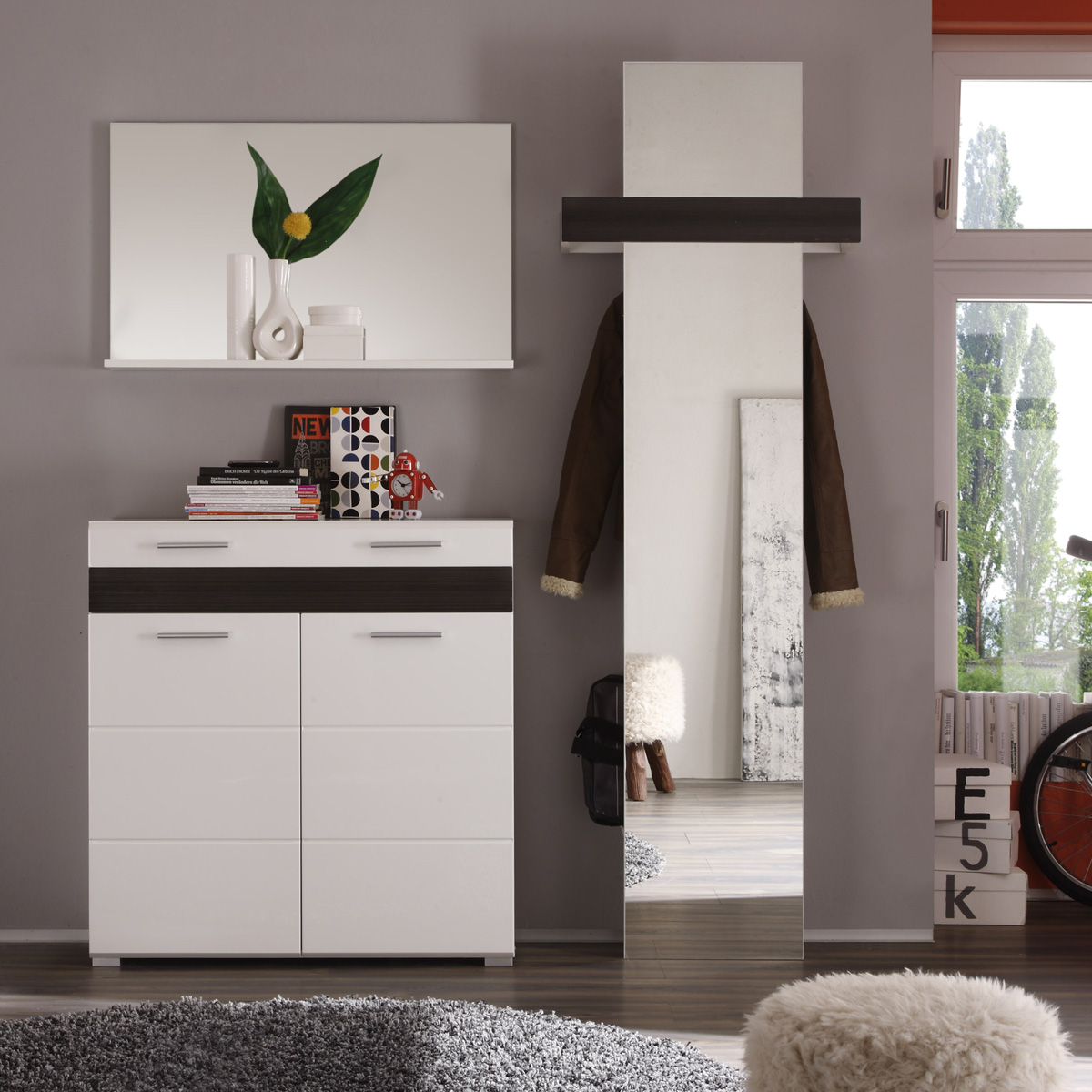 garderobenset ii mezzo garderobe kommode spiegel wei. Black Bedroom Furniture Sets. Home Design Ideas
